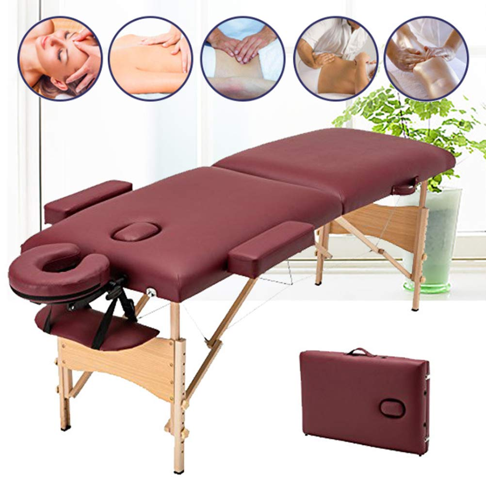 Massage Table with High Density Waterproof PU Cushion Height Adjustable Professional Massage Bed for Therapy Tattoo by Massage Table