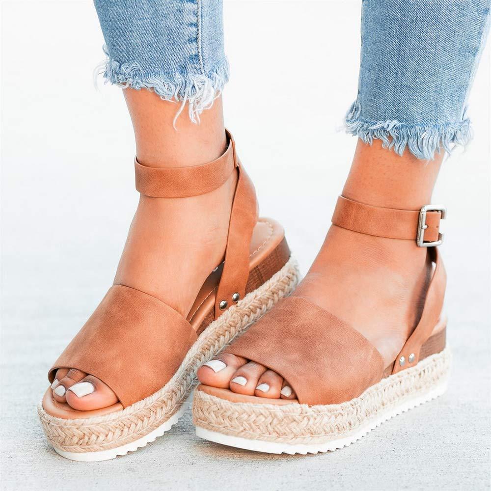 Sandalen Damen Sommer mit Keilabsatz Plateau Sandalen mit Kn/öchelriemen Sommer Niedrige Sandalen Espadrilles mit offener Spitze Elegante Damenschuhe Bequem