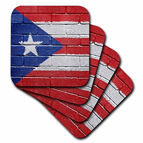 3dRose cst_156970_3 National Flag of Puerto Rico Painted Onto a Brick Wall Rican-Ceramic Tile Coasters, Set of 4