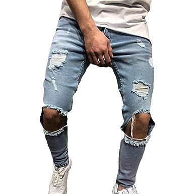 nouvelle arrivee c54a1 9b115 Tomwell Pantalons en Denim Jeans Homme Mode Skinny Jeans Straight Fit  Déchiré Styles Destroyed Trousers