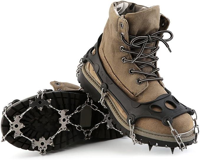 HappGrand Schuhspikes Schuhkrallen Steigeisen mit 18 Edelstahlspikes, Spikes für Schuhe Eis Schnee Trekkingschuhe Wanderhalbschuhe
