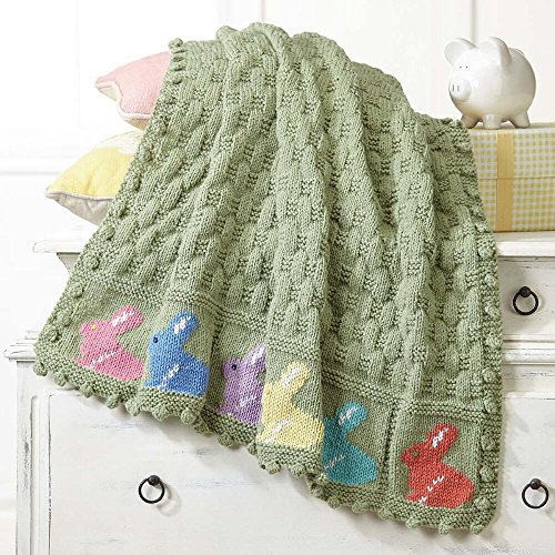 Herrschners Curious Bunnies Baby Blanket Knit Afghan (Baby Blanket Kit)
