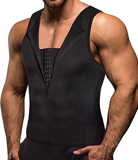Imagen deMemoryee Sauna para Hombre Sudor con Cremallera Chaleco para Perder Peso Corsé de Neopreno Caliente Entrenador en la Cintura Camisa para Adelgazar Entrenamiento