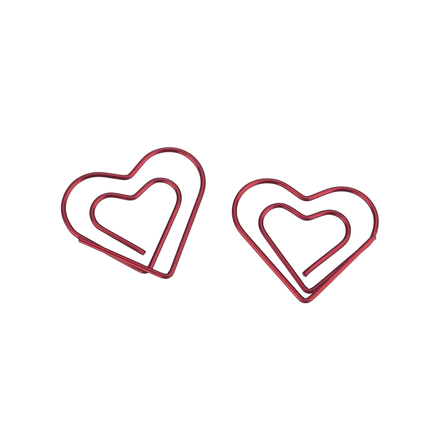(Price/100 Clips) Officeship Red Heart Shaped Paper Clips, 1 1/8'L x 1 1/4'W-Red-100CLIPS 1 1/8L x 1 1/4W-Red-100CLIPS
