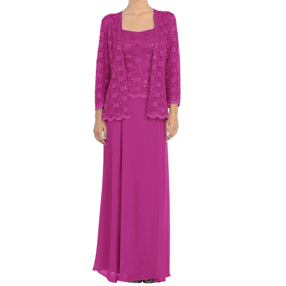 Fuchsia H.S.D Mother of The Bride Dress Lace Long Formal Gowns with Jacket