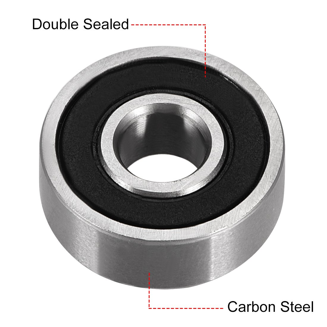 sourcing map 604ZZ Deep Groove Ball Bearing Double Shield 604-2Z 80014 4mm x 12mm x 4mm Carbon Steel Bearings Pack of 8