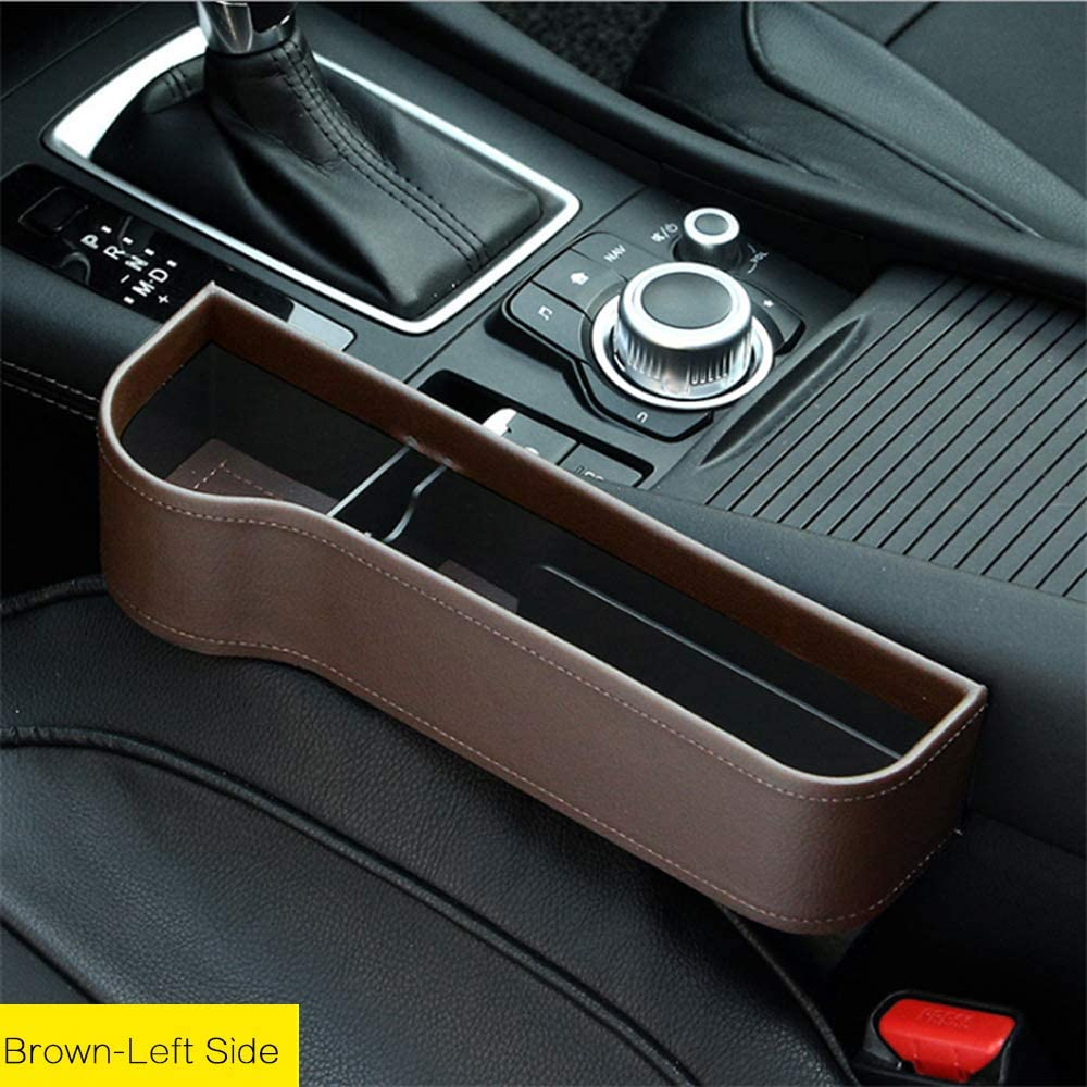 Portable Universal Multifunctional Car Cup Holder Wedge Gap Catcher Caddy Stopper Storage Box for Keys Cards Wallets Off-White - Right Car Seat Organizer Gap Filler Pocket with Leather Cover