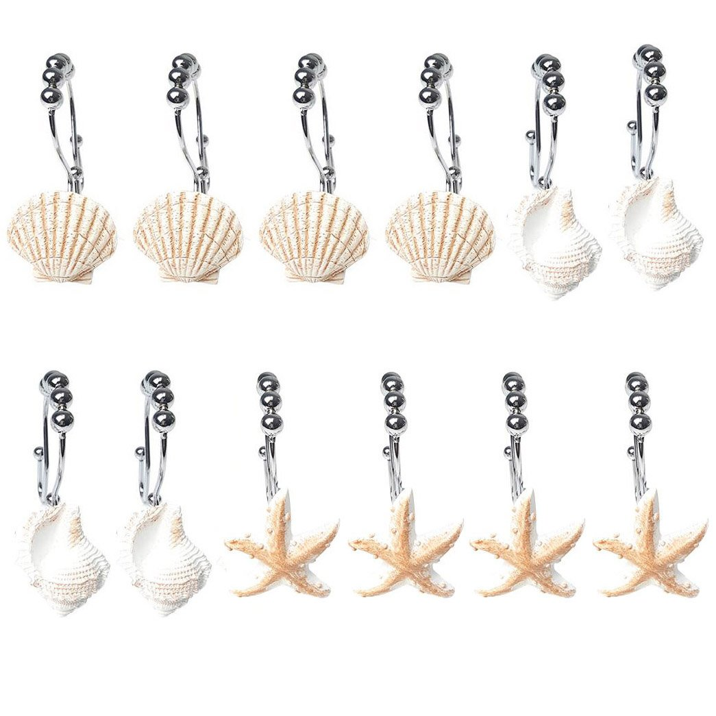 12Pcs Shell Design Shower Curtain Roller Rings Seashell Starfish Conch Shower Curtain Hooks Stainless Steel Bathroom Hooks Curtain Tieback Decorative Easy Glide Double Hook Shower Curtain Ring Hangs WElinks