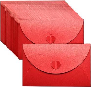 Sobres Papel Kraft Mini Sobres Rojos 50 Piezas Pequeños Sobres Con Corazones De Papel Para Regalo De Navidad San Valentín 6 9 In Bonito Sobre Para Bricolaje Boda Fiesta De Cumpleaños Office