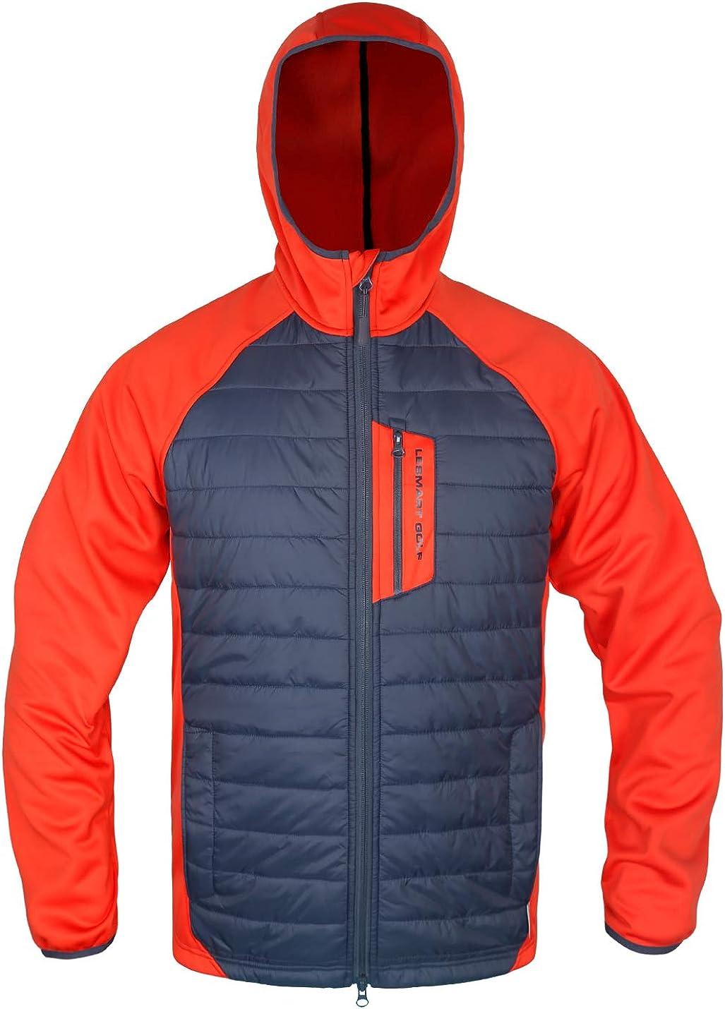 Men's Hybrid Jacket Quilted Lightweight Hooded Insulated Weatherproof Outwear Warm Jacket