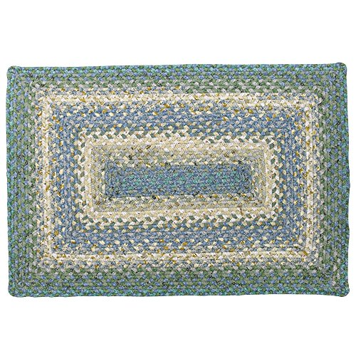 Homespice Rectangular Cotton Braided Rugs, 8-Feet by 10-Feet, Baja Blue Baja Braided Rug