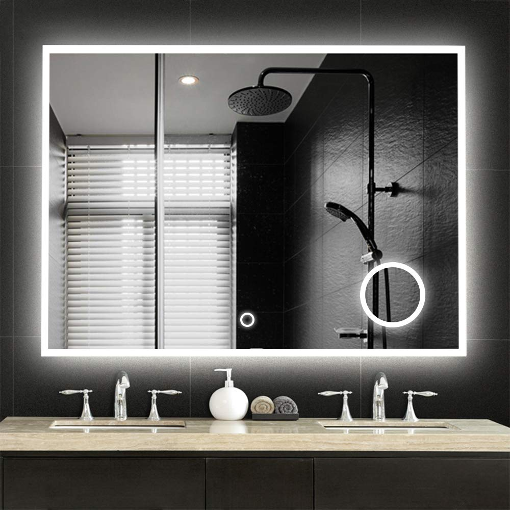 NeuType Large LED Mirrors Wall Mounted Bathroom Mirrors Dimmable Lighting Mirror with Built-in Circular Magnifier 3 Times Magnification for Cosmetic Vanity Makeup or Shaving,Touch Button 36 x28