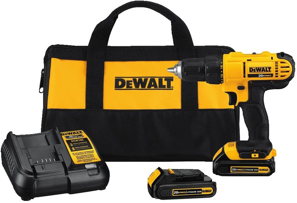 DEWALT 20V MAX Cordless Drill / Driver Kit, Compact, 1/2-Inch (DCD771C2): Home Improvement