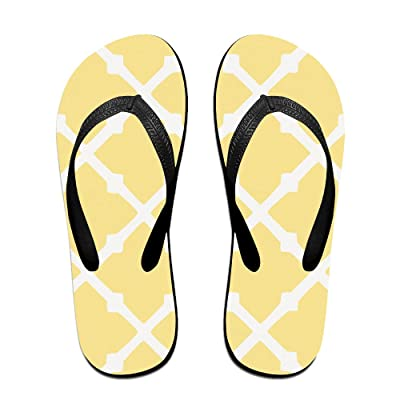 Double Happiness Summer Unisex Yellow Plaid Classical Comfortable Flat Pool Flip-Flop