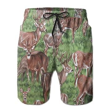 dfegyfr Pantalones de Playa de Hombre Casual Deer Pantalones ...