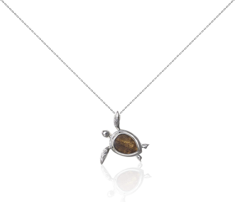 Bean /& Vanilla Koa Wood Turtle Necklace