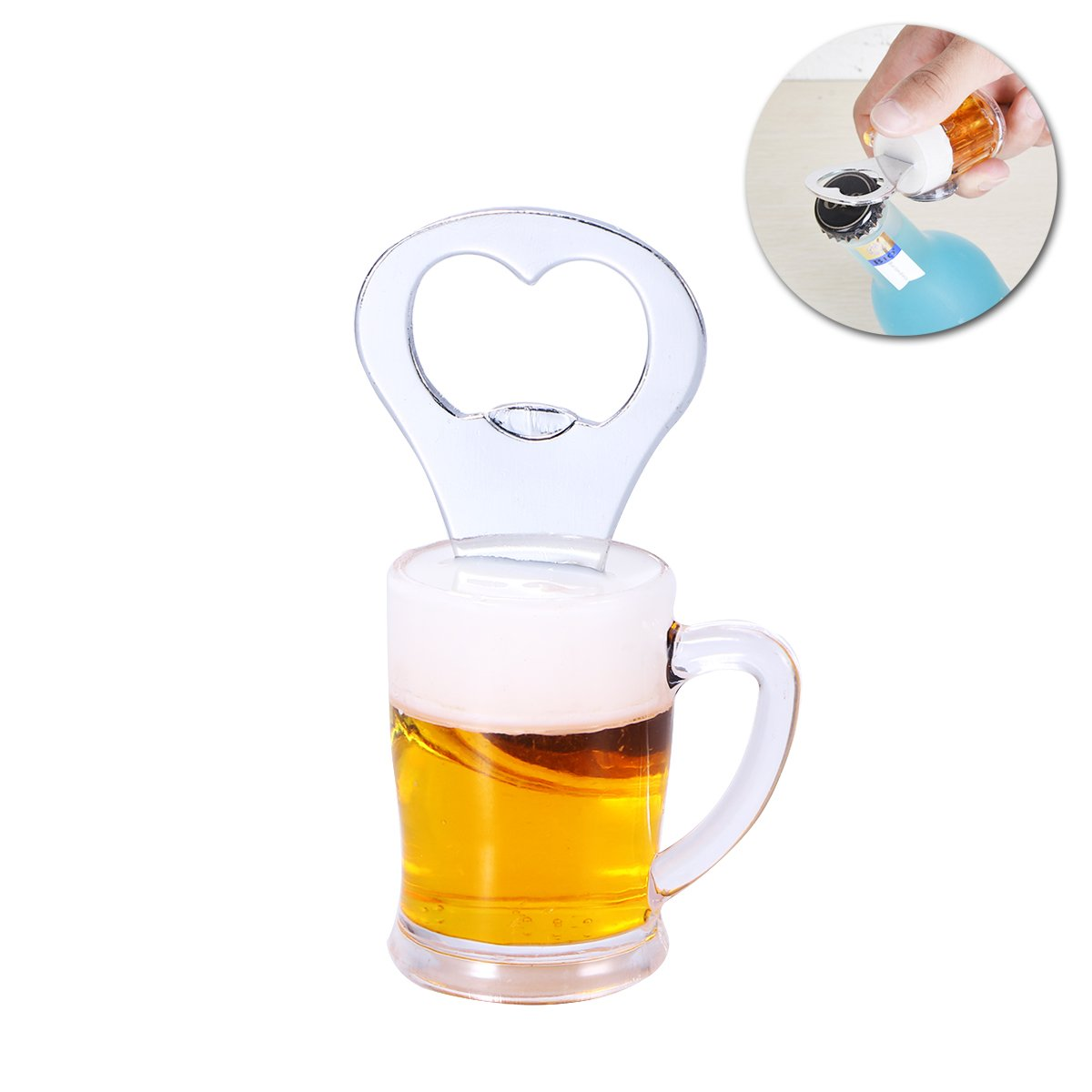 BESTOMZ Novelty Bottle Opener Fridge Magnet Beer Wine Openers A Glass Beer Style