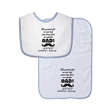 da8e8841a0e0f Amazon.com  Personalized Custom Family The greatest gift from God Dad  Cotton Boys-Girls Baby Bib   Burb Set Gingham Trim - Blue