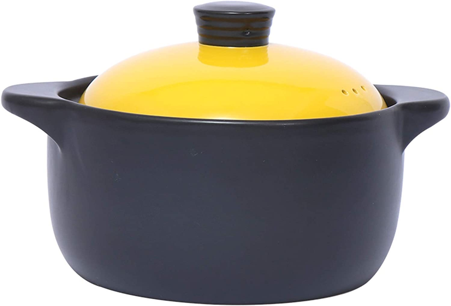 LIUSHI Casserole Cookware Hand Made Ceramic Pots for Cooking and Stew Casserole Slow Cooker (Color : Yellow, Size : 2.0L)