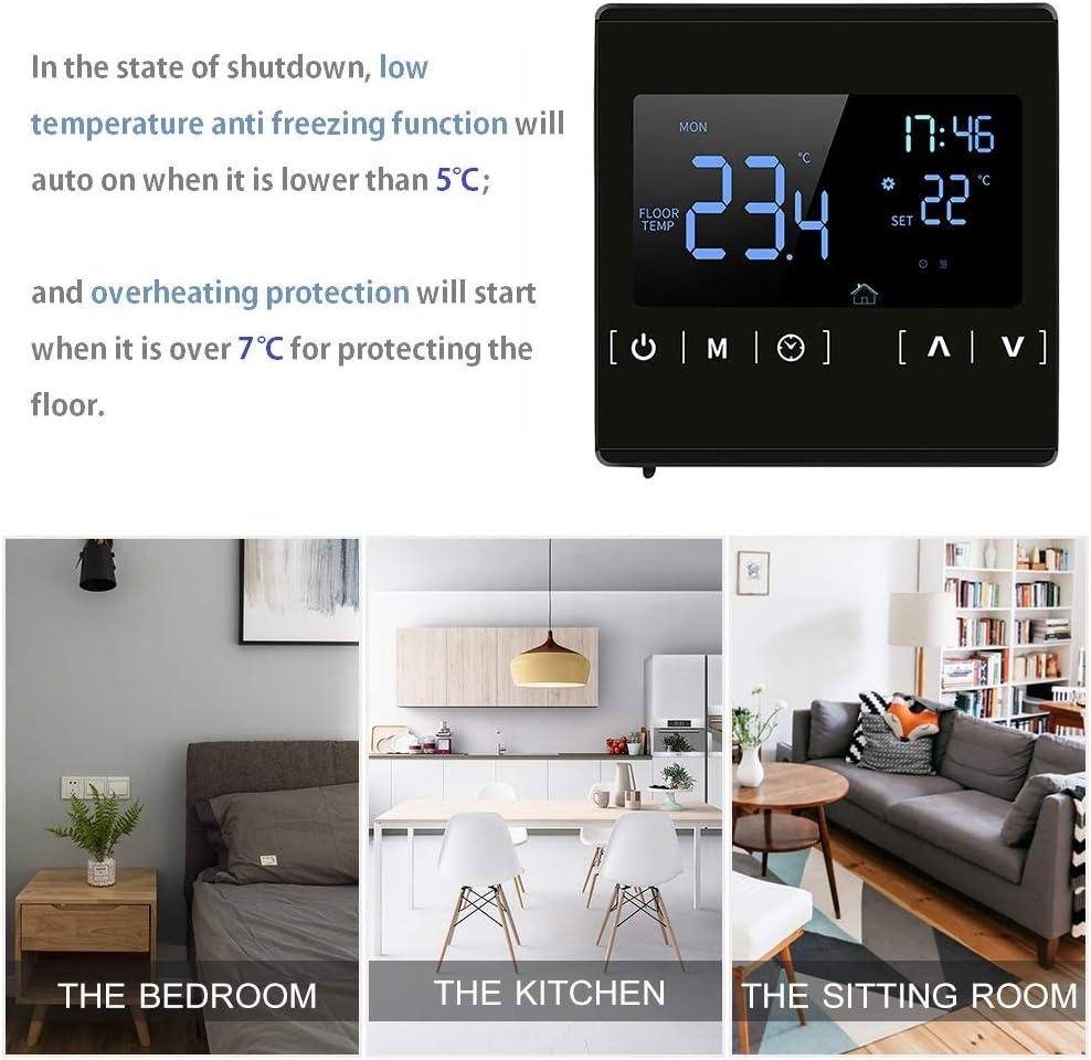 Thermostat Chaudiere Gaz KKmoon/® AC 85-250V Thermostat Intelligent /à /écran Tactile LCD pour Syst/ème de Chauffage au Sol /électrique Programmable /à la Maison Thermor/égulateur de Chauffage de leau