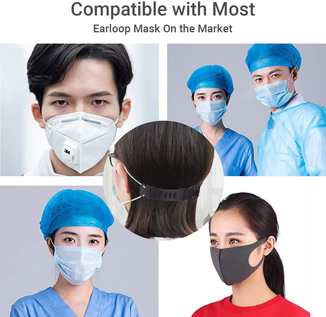 Zhongmin 5PCS Black Mask Belt Buckle Anti-Tightening Ear Protector Decompression Holder Hook Ear Strap Accessories Ear Grips Extension Mask Buckle Ear Pain Relieved