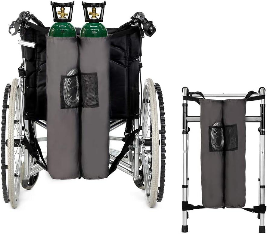 Bolsa con soporte para mochila de oxígeno para silla de ruedas Portador de andador Bolsa portátil para tanque de oxígeno Cilindros