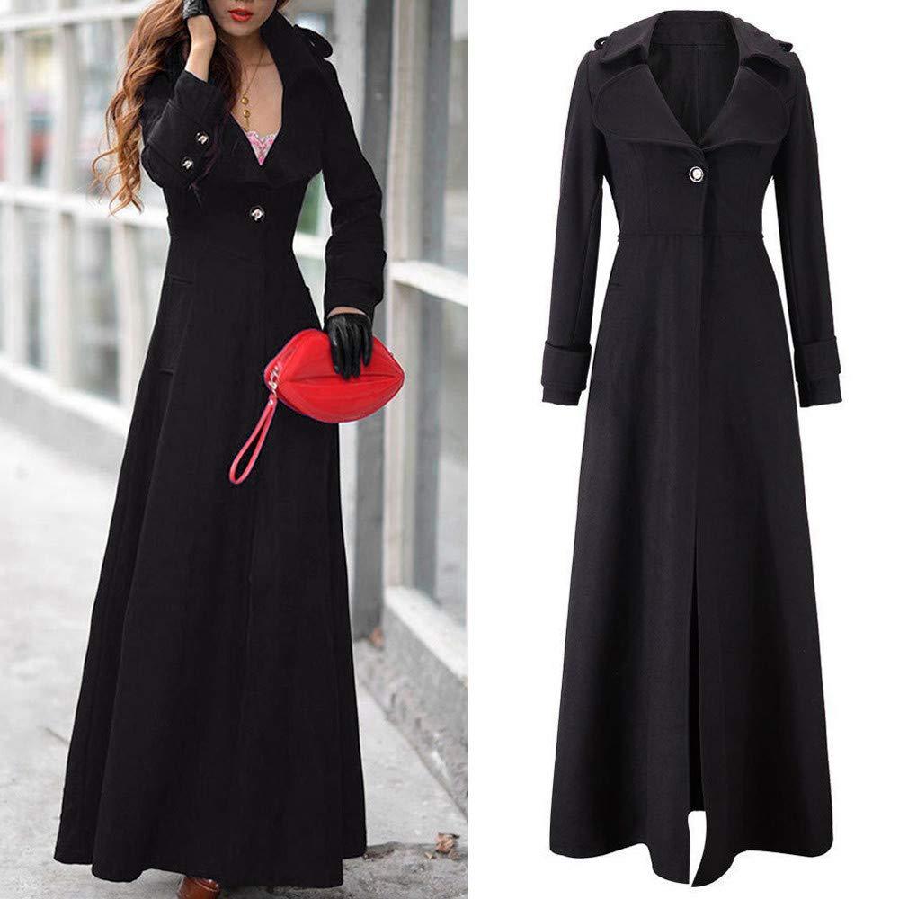 Sunfei Womens Winter Lapel Slim Coat Trench Jacket Long Parka Overcoat Outwear Clearance