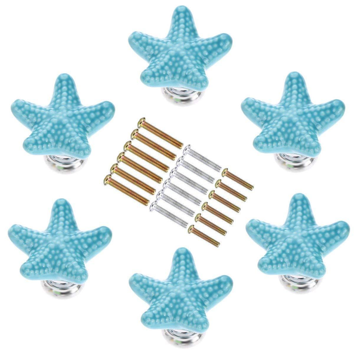 SCTD Starfish Ceramic Drawer Pulls Handles for Nursery Dresser Cupboard Wardrobe Cabinet Kitchen, Beach/Ocean Theme Knobs, Pack of 6 (Blue)