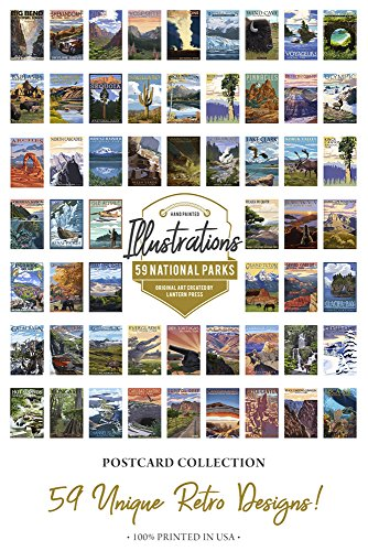 59 National Parks - Postcard Set of 59 Different Original Hand Illustrated Postcards by Lantern Press from Lantern Press