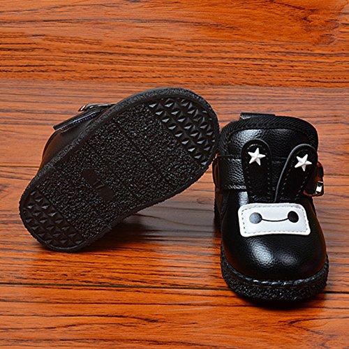 Baby Jungen Mädchen Warme Wasserdicht Kunstleder Schuhe Babyschuhe Winterschuhe Schwarz