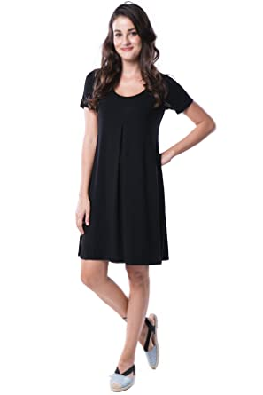 eda03c9ec0f Nanakee Front Pleated Tunic Dress - Flattering Belly Cover Loose Fit Shift  Dress Short Sleeve T