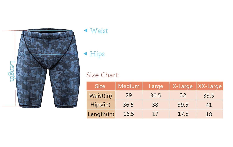 KGKE Mens Swim Jammers Compression Fashion Print Jammer Swimsuit Swim Boxer Long