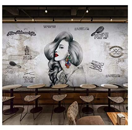 Vintage Barber Shop Mural Wallpaper Hair Salon Wall Wall
