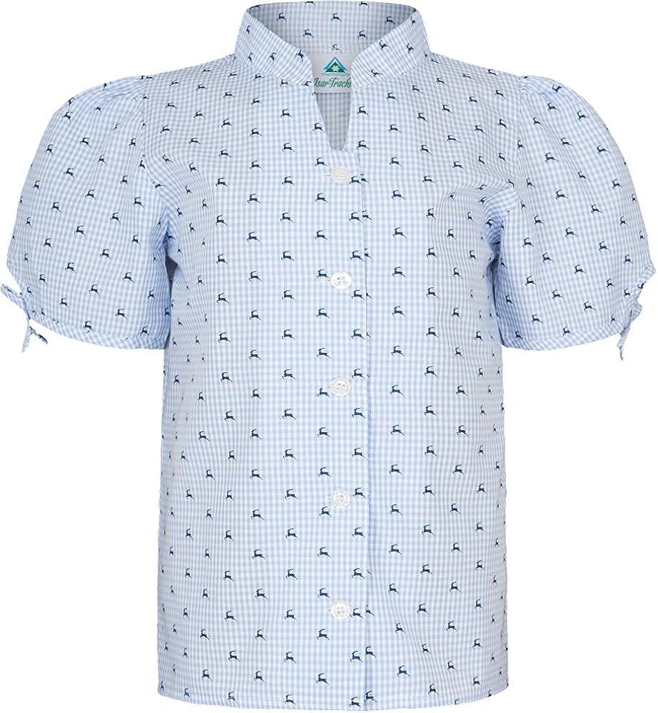 Isar-Trachten Juna Blusa para niña, a cuadros con ciervos – Azul Claro – Moda para traje regional Talla 92-164: Amazon.es: Ropa y accesorios