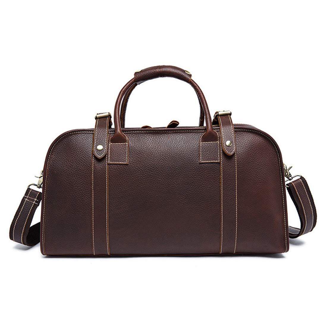 RABILTY Mens Large-Capacity Leather Shoulder Hand Luggage Bag Brown Travel Duffel Bag Color : Dark Brown