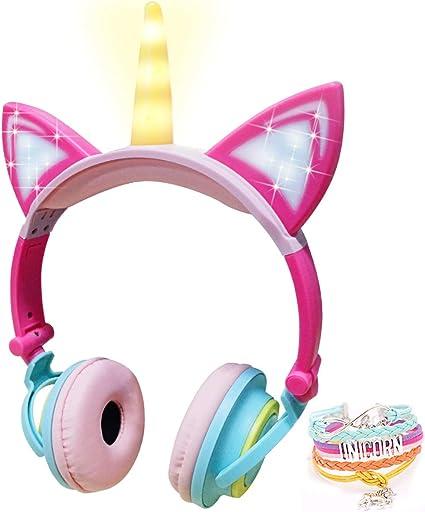 LED Unicornio Auriculares para Niños GANYUE Plegable Gatos Auriculares 85dB Volume Limiteden para Niñas,Orejeras Cómodo Auriculares con Cable + Pulsera de Unicornio