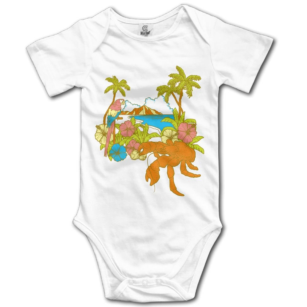Jaylon Baby Climbing Clothes Romper Coconut Tree Infant Playsuit Bodysuit Creeper Onesies White