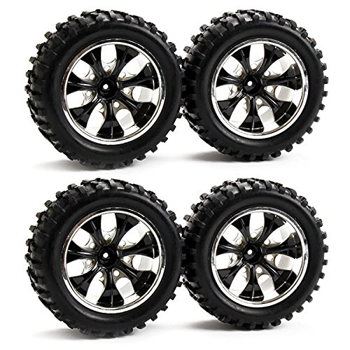 Generic Rubber Tires and Plastic Wheel Rims for RC 1:10 Off-road Truck 7 Spoke Black Plating Pack of 4