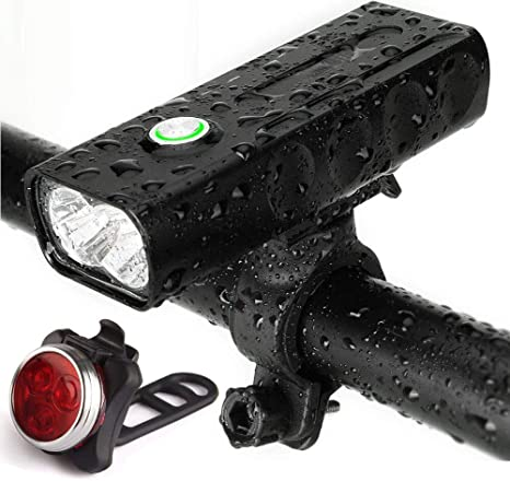 Waterproof 5 LED Lamp Bike Bicycle Front Head Light+Rear Safety Flashlight 2017