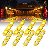 Xprite Led Rock Light for Bed Truck, 24 LEDs Cargo Truck Pickup Bed, Off Road Under Car, Foot Wells, Rail Lights, Side Marker LED Rock Lighting Kit w/Switch Yellow - 8 PCs