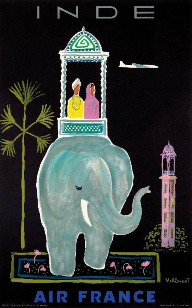 エアフランス – インドヴィンテージポスター(アーティスト: Villemot )フランスC。1956 36 x 54 Giclee Print LANT-73752-36x54 36 x 54 Giclee Print  B01MDPYVVW