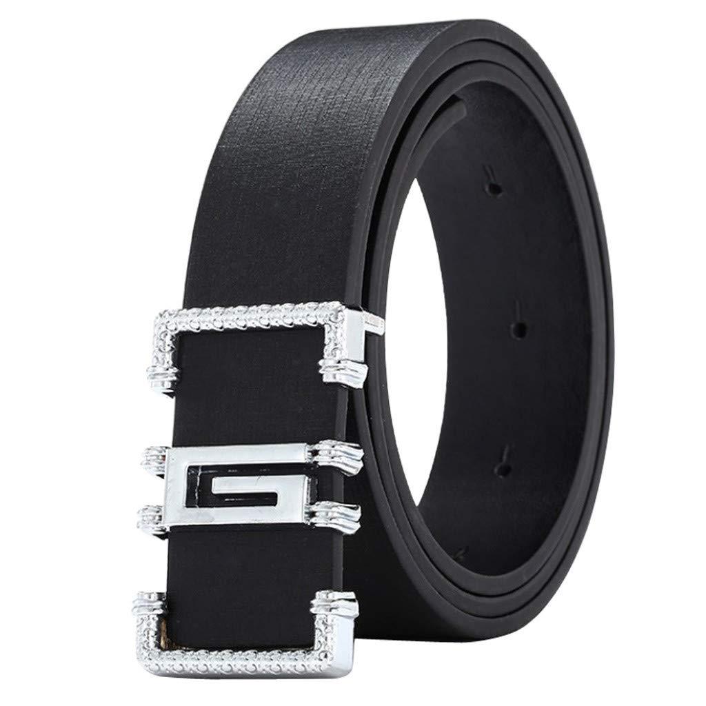 Chenchen ItdFashion Cool Casual Leather Thin Belt Skinny Slender Waistband Unisex (Black)