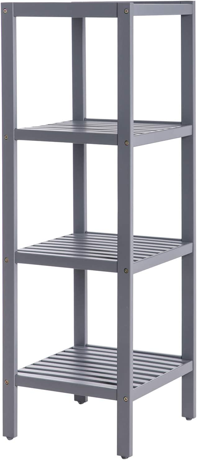 Amazon Com Songmics 100 Bamboo Bathroom Shelf Stand Rack 4 Tier Multifunctional Storage Rack Shelving Unit 38 6 X 13 X 13 Inches Gray Ubcb54gy Furniture Decor