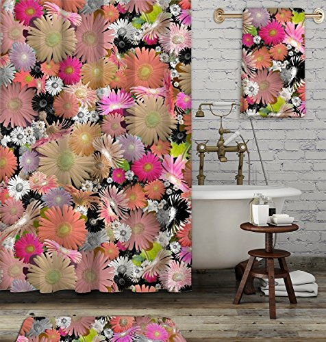 Colorful floral shower curtain. Boho gypsy style bathroom accessories. Add a matching bath mat! Artwork by mixed media artist C.Cambrea.