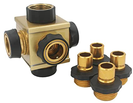 KAPOK The CUBE  Heavy Duty Brass Connector 4 Way Garden Hose Shut Off  Connector