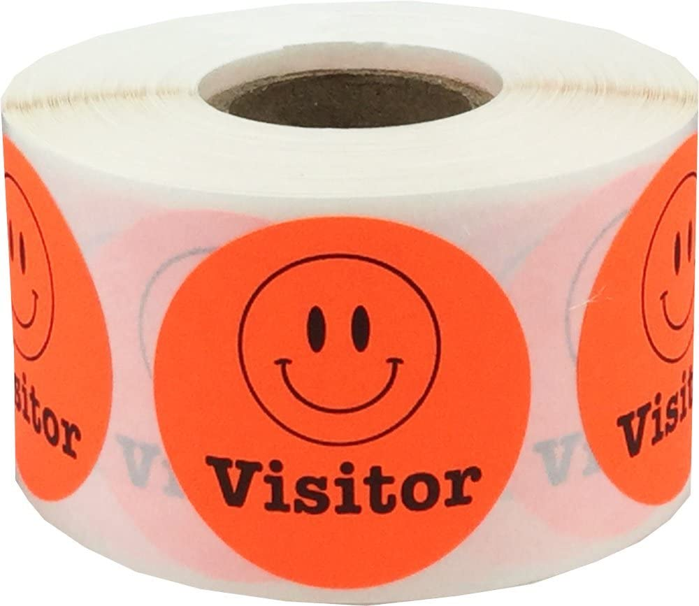 Happy Face Visitor Labels Fluorescent Red 1 1/2 Inch Round Circle Dots 500 Adhesive Stickers