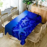 Moslion Starfish Decor Tablecloth Sea Animals Blue Starfish Art with Coral Underwater Life Polyester Fabric Tablecloths Dining Room Kitchen Rectangular Table Cover 60'' W X 104'' L