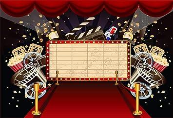 Amazon Com Aofoto 10x7ft Cinema Movie Theatre Interior Background Popcorn Red Carpet Tickets Film Night Themed Parties Events Vip Backdrop Decorations Photo Studio Props Vinyl Wallpaper Camera Photo