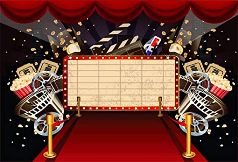 Aofoto 10x7ft Cinema Movie Theatre Interior Background Popcorn Red Carpet Tickets Film Night Themed Parties Events Vip Backdrop Decorations Photo
