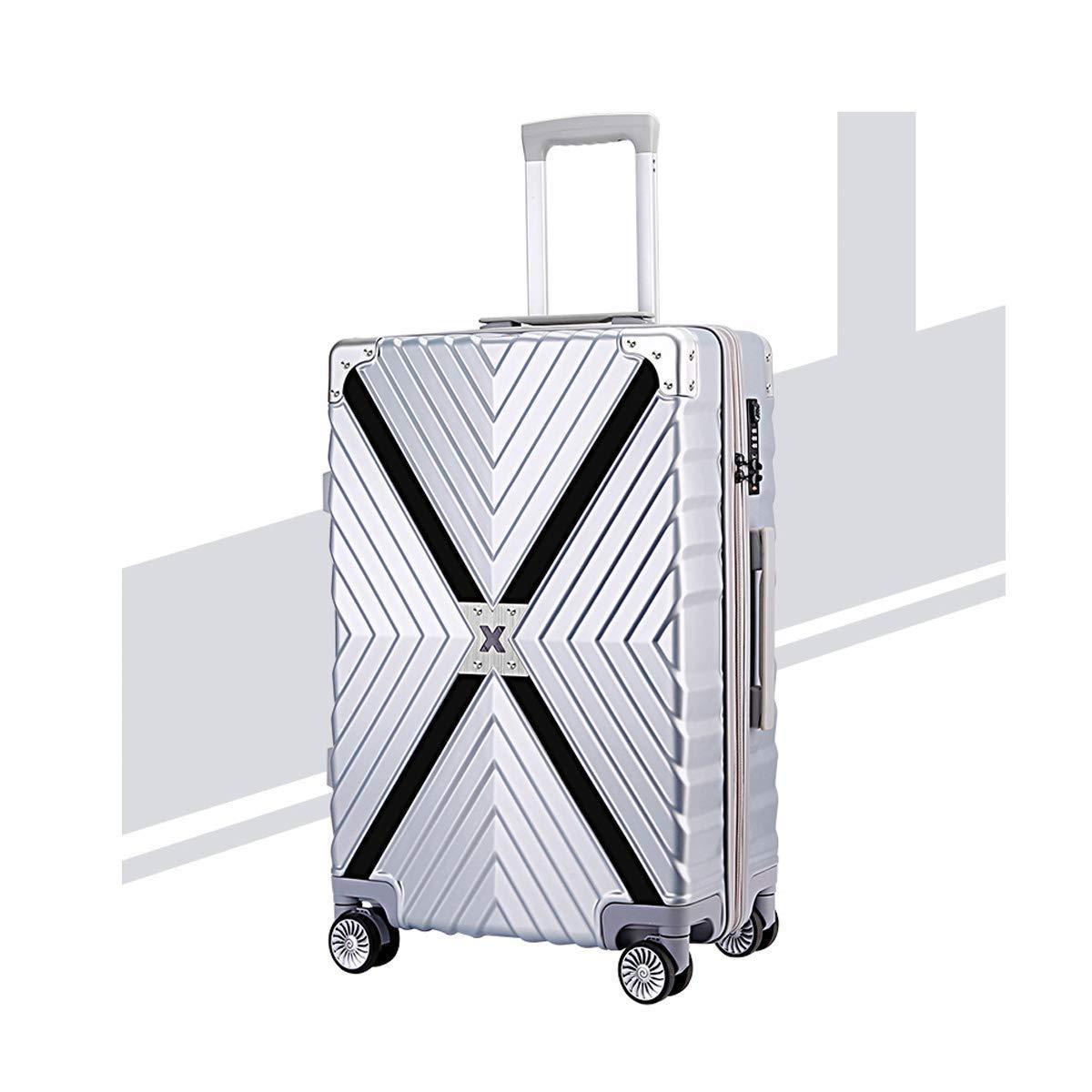 8haowenju Travel Bag, Hard Trolley case, Student Password Box, Simple and, Travel Organizer, 20/24 inch, Silver (Color : Silver, Size : 24) Suitcase (Color : Silver, Size : 20)